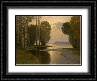 Landscape with Birch trees 24x20 Black or Gold Ornate Framed and Double Matted Art Print by Vilhelms Purvitis