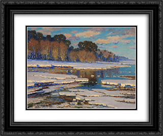 Melting Snow 24x20 Black or Gold Ornate Framed and Double Matted Art Print by Vilhelms Purvitis