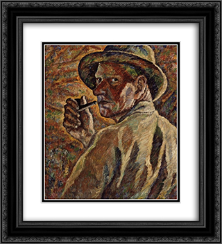 Self-portrait 20x22 Black or Gold Ornate Framed and Double Matted Art Print by Vilho Lampi