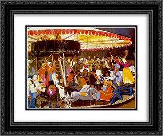 Carousel 24x20 Black or Gold Ornate Framed and Double Matted Art Print by Vilmos Aba Novak