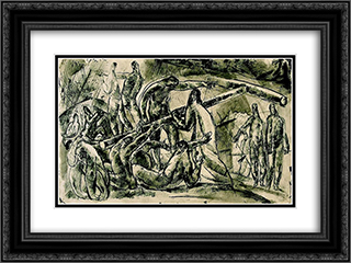 Carrying the Cross 24x18 Black or Gold Ornate Framed and Double Matted Art Print by Vilmos Aba Novak