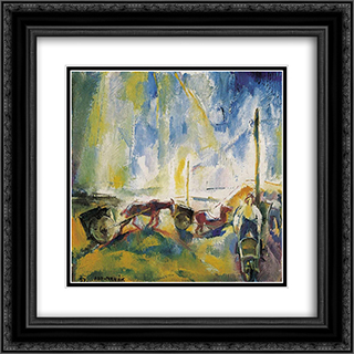 Daylabourers with Wheelbarrows 20x20 Black or Gold Ornate Framed and Double Matted Art Print by Vilmos Aba Novak