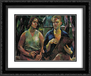 Double Portrait (The Artist and His Wife) 24x20 Black or Gold Ornate Framed and Double Matted Art Print by Vilmos Aba Novak