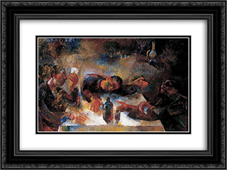 Drinkers (Wine Drinkers) 24x18 Black or Gold Ornate Framed and Double Matted Art Print by Vilmos Aba Novak