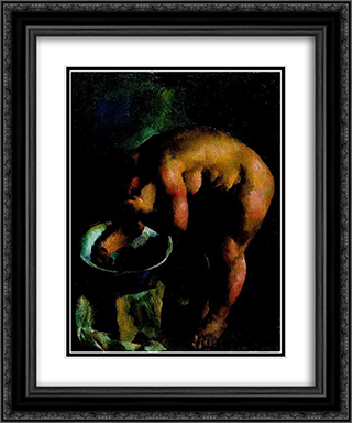 Eta is Bathing 20x24 Black or Gold Ornate Framed and Double Matted Art Print by Vilmos Aba Novak