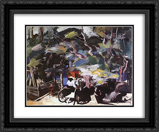 Homebound 24x20 Black or Gold Ornate Framed and Double Matted Art Print by Vilmos Aba Novak