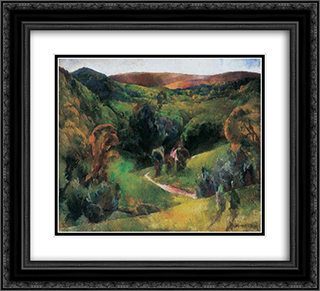 Landscape 22x20 Black or Gold Ornate Framed and Double Matted Art Print by Vilmos Aba Novak