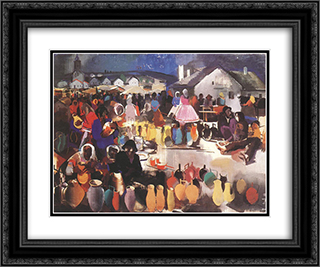 Market of Ceramics 24x20 Black or Gold Ornate Framed and Double Matted Art Print by Vilmos Aba Novak