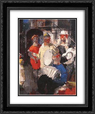 Musicians 20x24 Black or Gold Ornate Framed and Double Matted Art Print by Vilmos Aba Novak