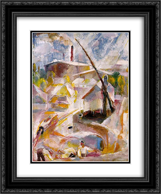 Sand Mine (Igal) 20x24 Black or Gold Ornate Framed and Double Matted Art Print by Vilmos Aba Novak