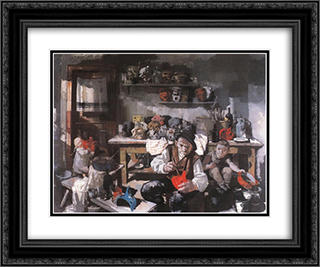 The Mask Maker 24x20 Black or Gold Ornate Framed and Double Matted Art Print by Vilmos Aba Novak