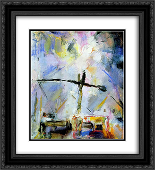 Well Sweep (Watering at the Well Sweep) 20x22 Black or Gold Ornate Framed and Double Matted Art Print by Vilmos Aba Novak