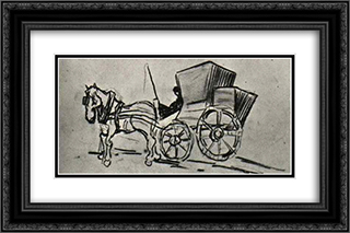 Carriage Drawn by a Horse 24x16 Black or Gold Ornate Framed and Double Matted Art Print by Vincent van Gogh