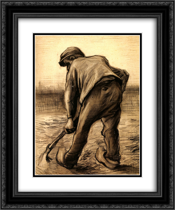 Digger in a Potato Field February 20x24 Black or Gold Ornate Framed and Double Matted Art Print by Vincent van Gogh