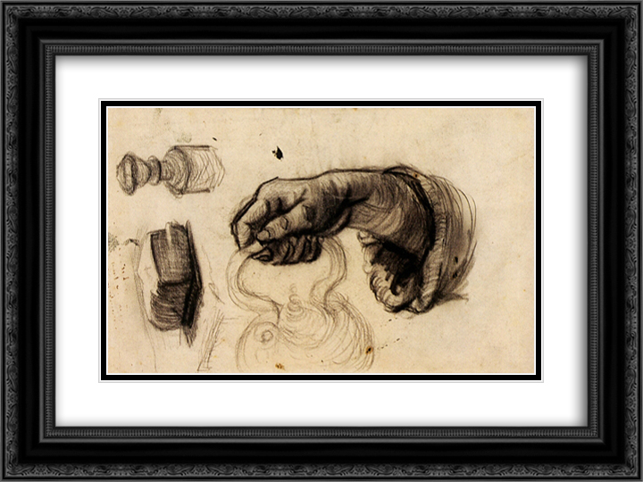Hand with a Pot, the Knob of a Chair and a Hunk of Bread 24x18 Black or Gold Ornate Framed and Double Matted Art Print by Vincent van Gogh