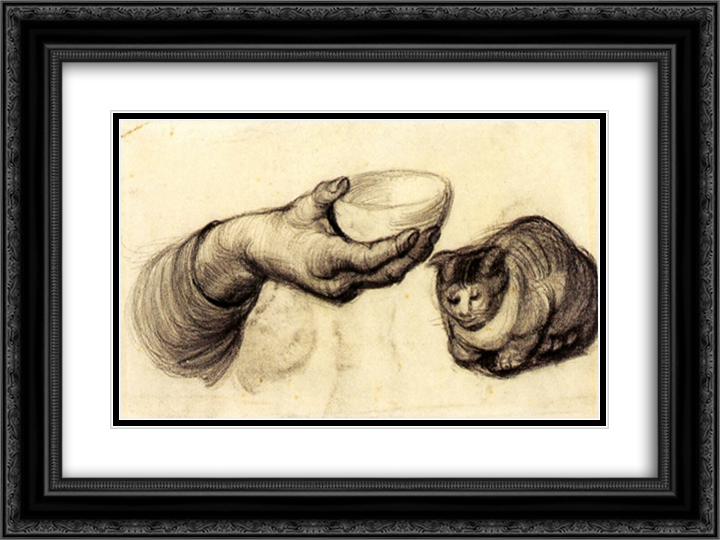 Hand with Bowl and a Cat 24x18 Black or Gold Ornate Framed and Double Matted Art Print by Vincent van Gogh