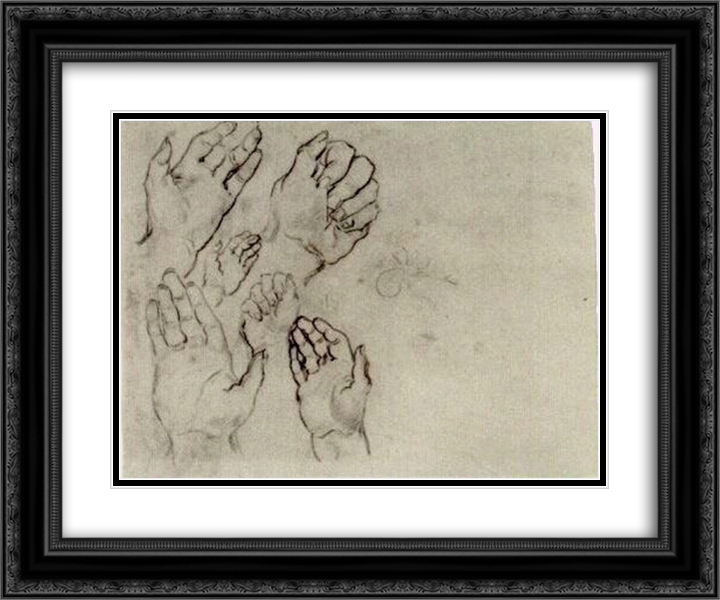 Hands 24x20 Black or Gold Ornate Framed and Double Matted Art Print by Vincent van Gogh