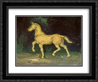 Plaster Statuette of a Horse 24x20 Black or Gold Ornate Framed and Double Matted Art Print by Vincent van Gogh