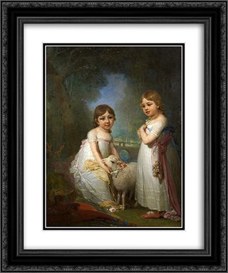 Children with a Lamb 20x24 Black or Gold Ornate Framed and Double Matted Art Print by Vladimir Borovikovsky