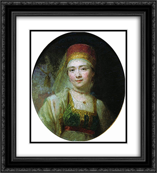 Christina, the Peasant Woman from Torzhok 20x22 Black or Gold Ornate Framed and Double Matted Art Print by Vladimir Borovikovsky
