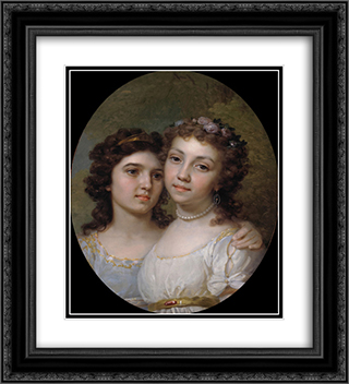 Lizanka and Dashenka 20x22 Black or Gold Ornate Framed and Double Matted Art Print by Vladimir Borovikovsky