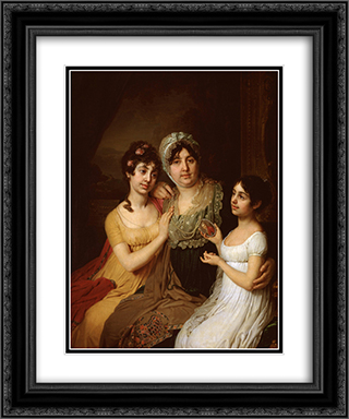 Portrait of A.I. Bezborodko with daughters 20x24 Black or Gold Ornate Framed and Double Matted Art Print by Vladimir Borovikovsky