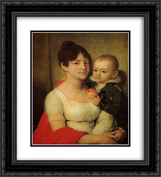 Portrait of an unknown with a child 20x22 Black or Gold Ornate Framed and Double Matted Art Print by Vladimir Borovikovsky