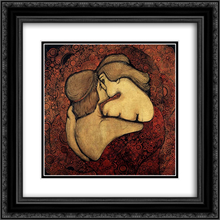 Kiss 20x20 Black or Gold Ornate Framed and Double Matted Art Print by Vsevolod Maksymovych