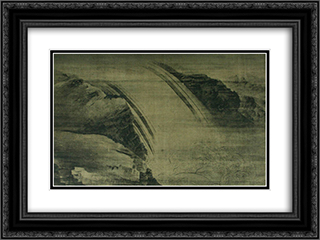 Cascade 24x18 Black or Gold Ornate Framed and Double Matted Art Print by Wang Wei