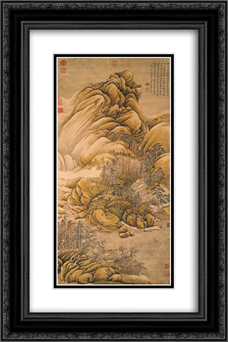 Clearing of Rivers and Mountains after Snow 16x24 Black or Gold Ornate Framed and Double Matted Art Print by Wang Wei