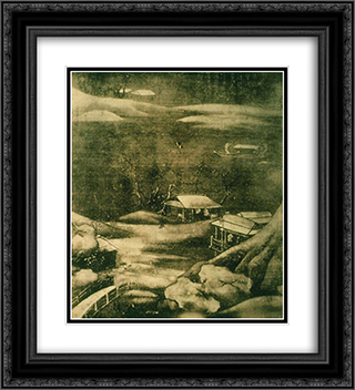 Snowy Stream 20x22 Black or Gold Ornate Framed and Double Matted Art Print by Wang Wei