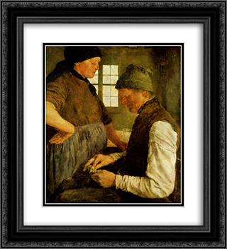 Der Spargroschen 20x22 Black or Gold Ornate Framed and Double Matted Art Print by Wilhelm Leibl