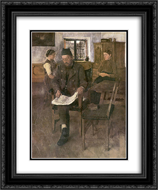Der Zeitungsleser 20x24 Black or Gold Ornate Framed and Double Matted Art Print by Wilhelm Leibl