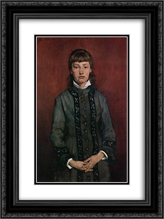 Girl with Folded Hands 18x24 Black or Gold Ornate Framed and Double Matted Art Print by Wilhelm Trubner