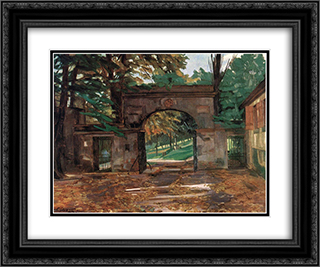 Neuburg Gates, Heidelberg 24x20 Black or Gold Ornate Framed and Double Matted Art Print by Wilhelm Trubner