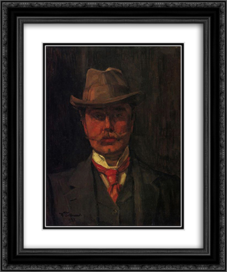 Self-Portrait 20x24 Black or Gold Ornate Framed and Double Matted Art Print by Wilhelm Trubner