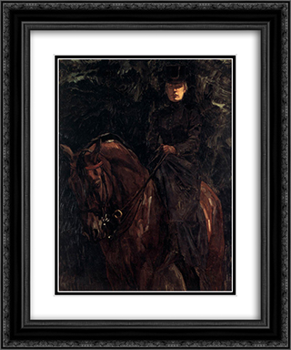 The Equestrienne - Ida Gorz 20x24 Black or Gold Ornate Framed and Double Matted Art Print by Wilhelm Trubner