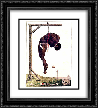 A Negro Hung Alive by the Ribs to a Gallows 20x22 Black or Gold Ornate Framed and Double Matted Art Print by William Blake