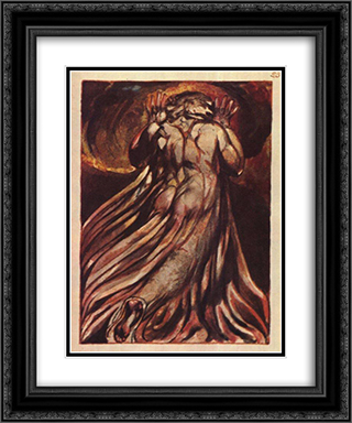 A white haired man in a long, pale robe who flees from us with his hands raised 20x24 Black or Gold Ornate Framed and Double Matted Art Print by William Blake