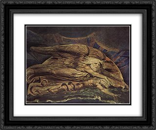 And Elohim created Adam 24x20 Black or Gold Ornate Framed and Double Matted Art Print by William Blake