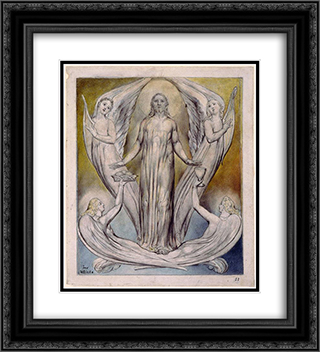 Angels Ministering to Christ 20x22 Black or Gold Ornate Framed and Double Matted Art Print by William Blake