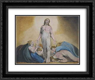 Christ Appearing to His Disciples After the Resurrection 24x20 Black or Gold Ornate Framed and Double Matted Art Print by William Blake