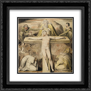 Christ Nailed to the Cross The Third Hour 20x20 Black or Gold Ornate Framed and Double Matted Art Print by William Blake