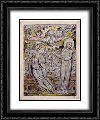 Christ refusing the banquet offered by Satan 20x24 Black or Gold Ornate Framed and Double Matted Art Print by William Blake