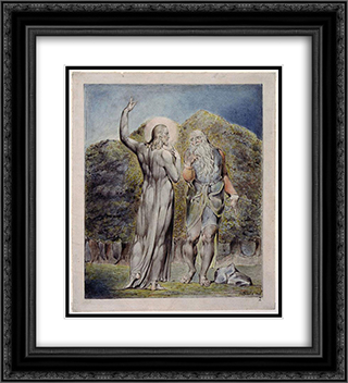 Christ Tempted by Satan to Turn the Stones to Bread 20x22 Black or Gold Ornate Framed and Double Matted Art Print by William Blake
