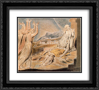 Illustration to Book of Job 22x20 Black or Gold Ornate Framed and Double Matted Art Print by William Blake