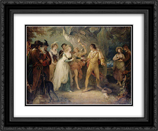 A Scene from 'As You Like It' by William Shakespeare 24x20 Black or Gold Ornate Framed and Double Matted Art Print by William Hamilton