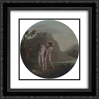 Apollo and Hyacinthus 20x20 Black or Gold Ornate Framed and Double Matted Art Print by William Hamilton
