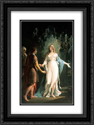 Calypso receiving Telemachus and Mentor in the Grotto 18x24 Black or Gold Ornate Framed and Double Matted Art Print by William Hamilton