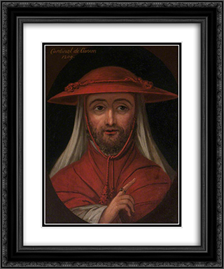 Cardinal Robert de Curzon (d.1218) 20x24 Black or Gold Ornate Framed and Double Matted Art Print by William Hamilton